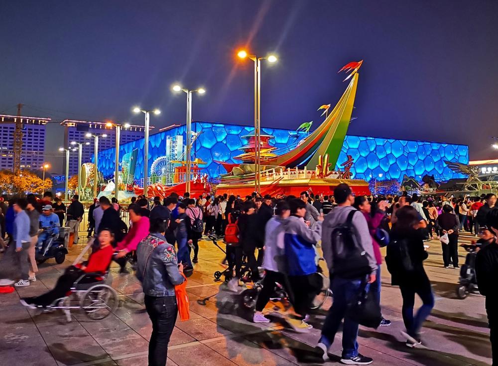 奥林匹克公园的夜,鸟巢水立方彩车阵,国庆长假这里最美