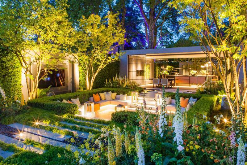 庭院设计:一个高逼格阳光房,一个下沉休闲空间,美了这别墅花园