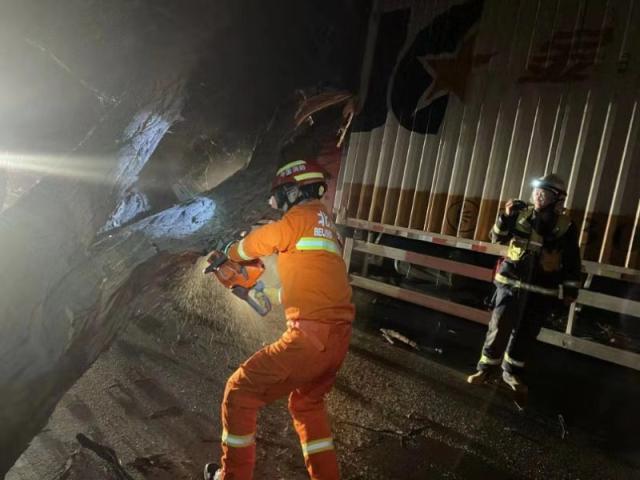 北京九级大风来袭,直径半米大树砸到正在行驶的货车上