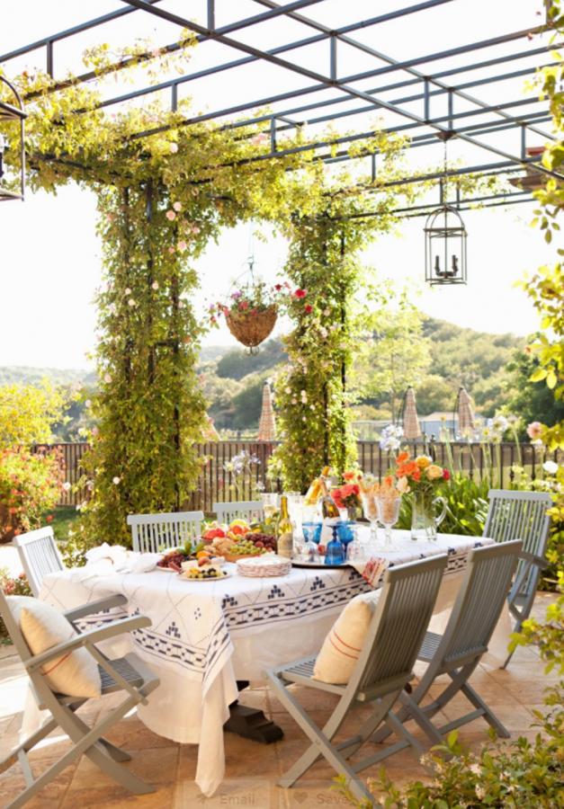 庭院里的花架葡萄架,一些充满泥土气息的庭院构架