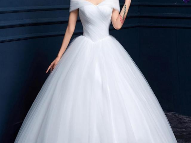 婚纱租赁 一字肩 新娘抹胸 显瘦 韩版 婚纱